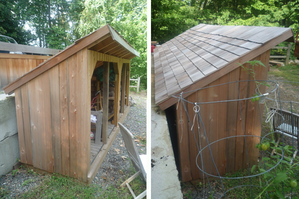 Cedar shake, siding and trim add some appeal to this simple lean-to shed design.