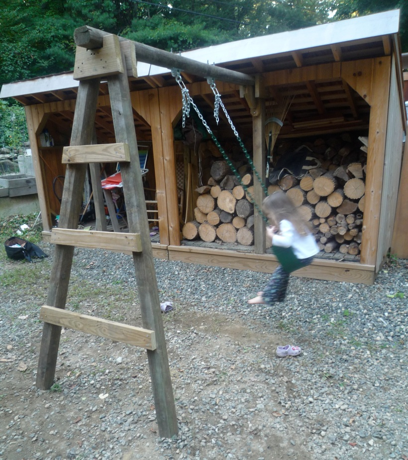 Maybe the first ever woodshed swing set. Made from recycled fence posts and internet-bought hardware.