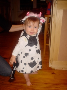 Nina dressed as a cow for her first Halloween, circa 2005