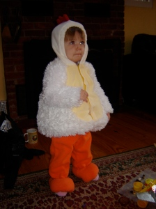 This chicken costume kept her warm and cozy in '06.