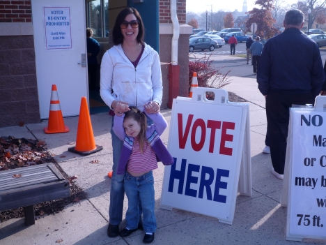 You can bring your kids into the voting booth, but they are not allowed to touch your ballot.