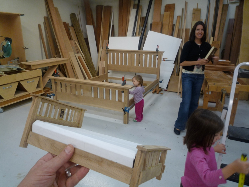 The Weekndr Family visited the woodshop this weekend to check on the progress of my bed build.