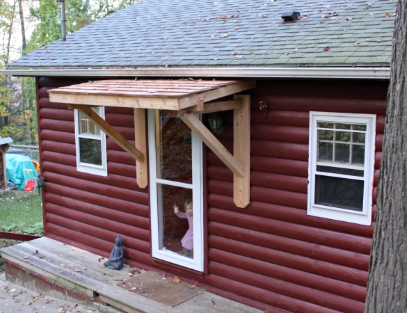 how to build wood awning over door