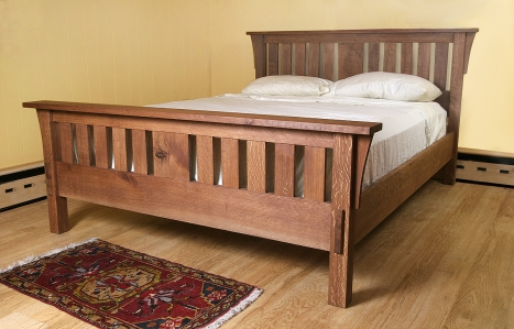The Morris Bed: An Arts and Crafts style bed  made from quartersawn white oak.