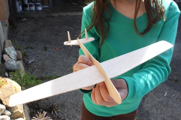 glider plane preparing in wood balsa